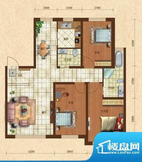 六合·龙城国际J户型面积:115.31m平米