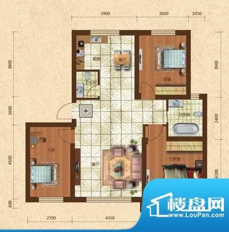 六合·龙城国际K户型面积:106.50m平米