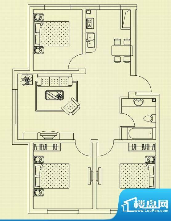 和美家园B户型 3室2面积:97.41m平米