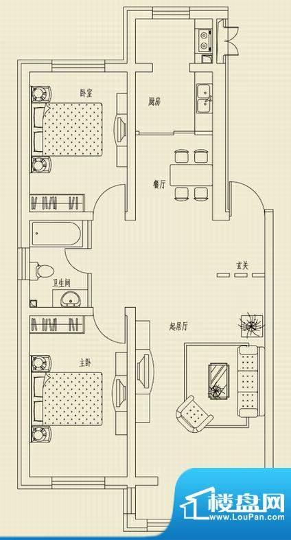 和美家园A户型 3室2面积:105.00m平米