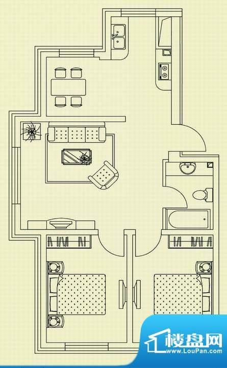 和美家园C户型 2室2面积:77.33m平米