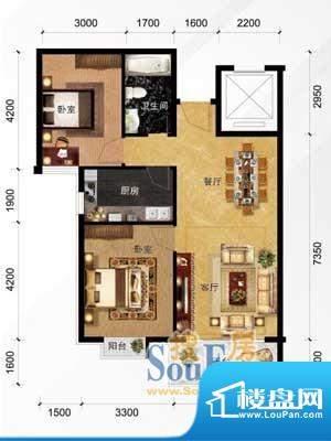 现代城A1户型 2室2厅面积:88.48m平米