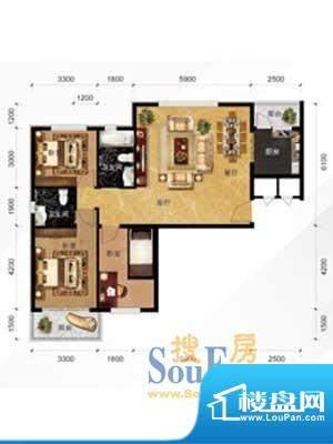 现代城A2户型 3室2厅面积:116.54m平米