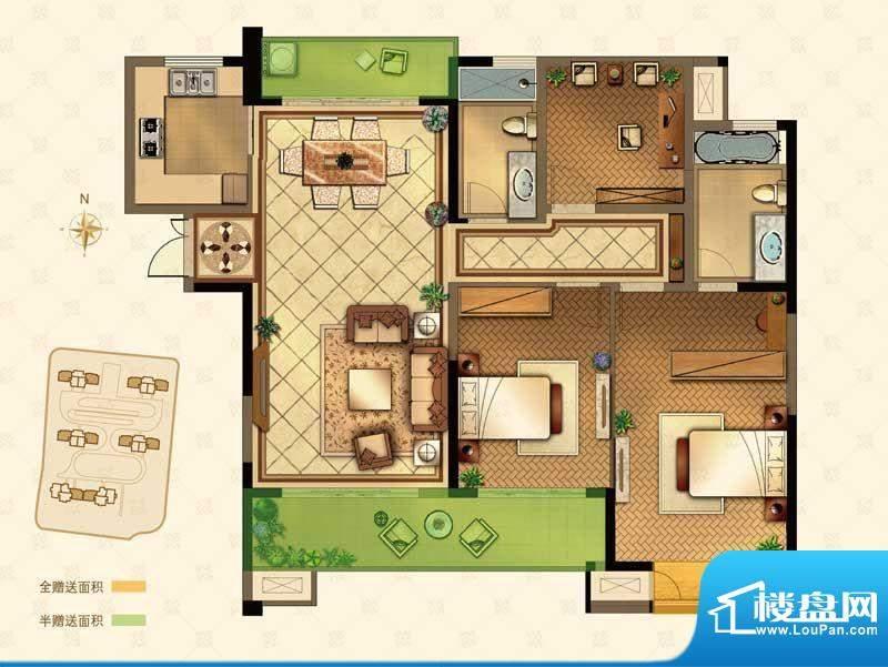 星河国际户型图O户型 3室2厅2卫面积:142.00平米