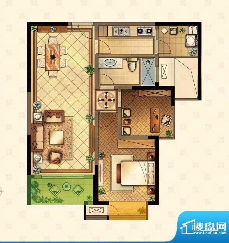 星河国际户型图L户型 2室2厅1卫面积:89.00平米