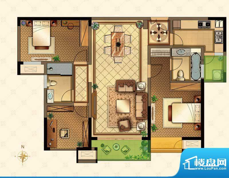 星河国际户型图M户型 3室2厅2卫面积:124.00平米