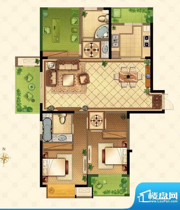 星河国际户型图N户型 3室2厅2卫面积:135.00平米
