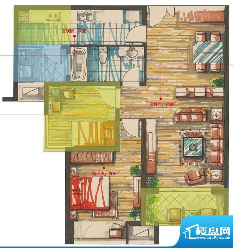 星河国际户型图国2号B户型 2室面积:86.00平米