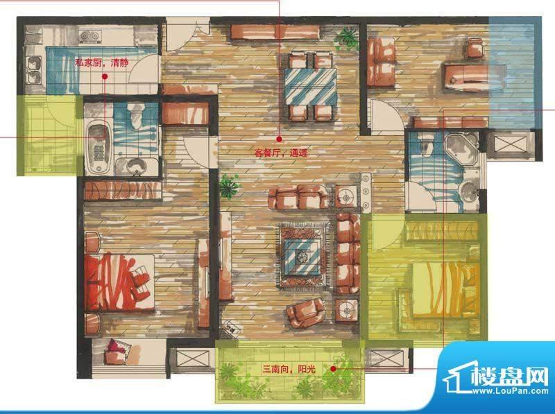 星河国际户型图国2号D户型 3室面积:120.00平米