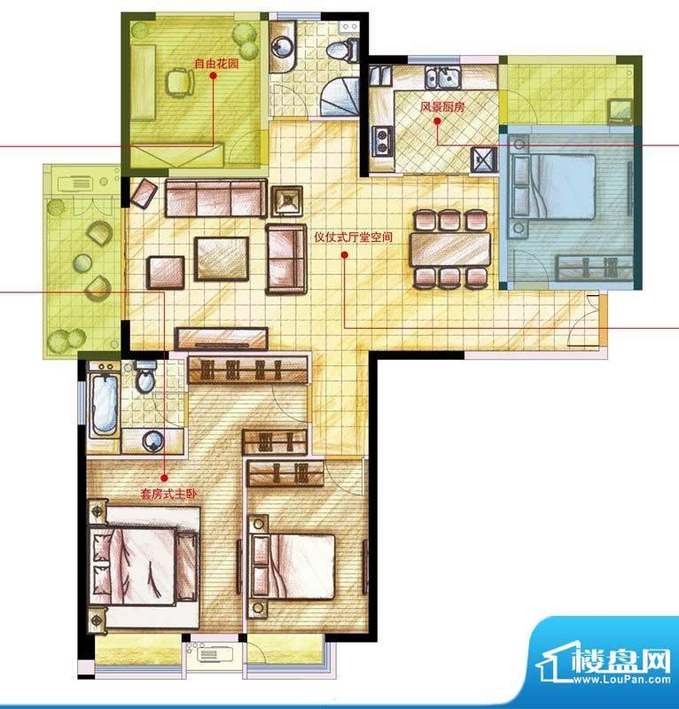 星河国际户型图A户型 4室2厅2卫面积:138.00平米
