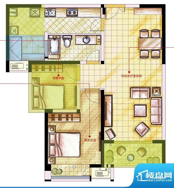 星河国际户型图B户型 2室2厅1卫面积:88.00平米