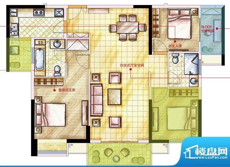 星河国际户型图D户型 3室2厅2卫面积:118.00平米