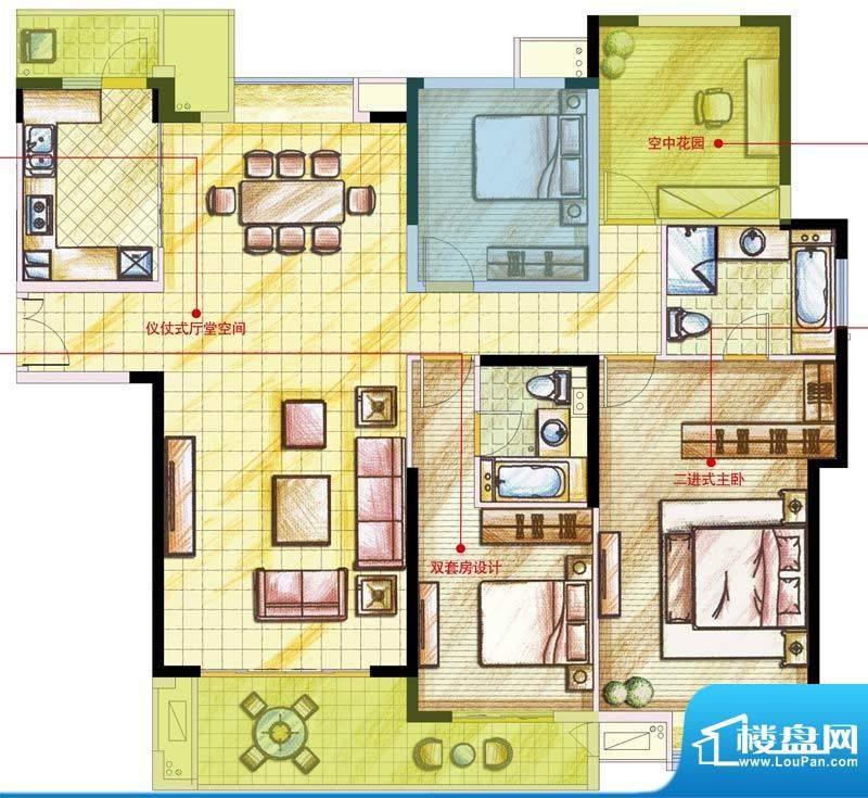 星河国际户型图E户型 4室2厅2卫面积:160.00平米