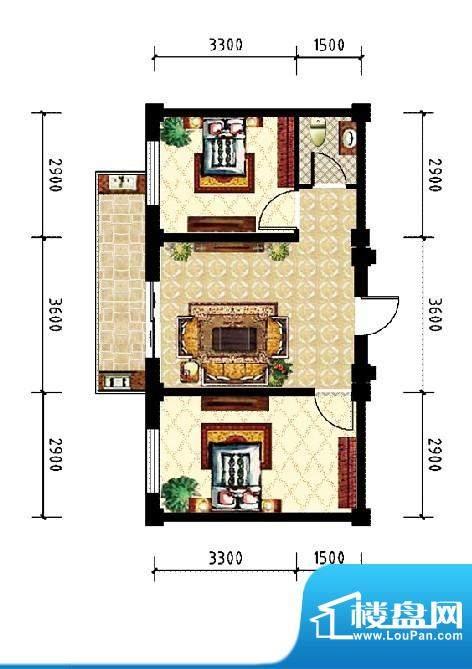 和美雅苑户型图 2室面积:66.00m平米