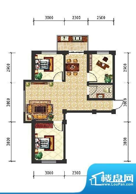 和美雅苑户型图 3室面积:73.98m平米