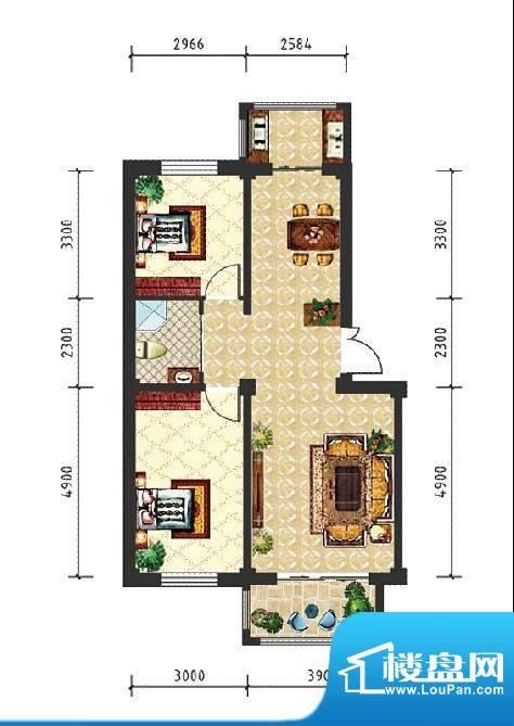 和美雅苑户型图 2室面积:88.00m平米