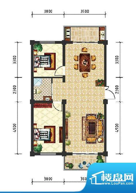 和美雅苑户型图 2室面积:98.40m平米