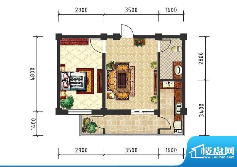 和美雅苑户型图 1室面积:51.43m平米
