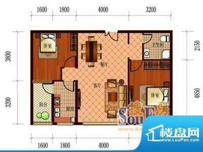 恒盛国际B3 2室2厅1面积:96.77m平米