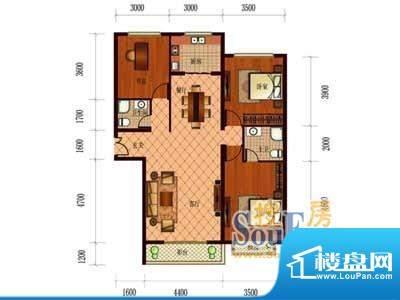 恒盛国际B2 3室2厅2面积:134.92m平米