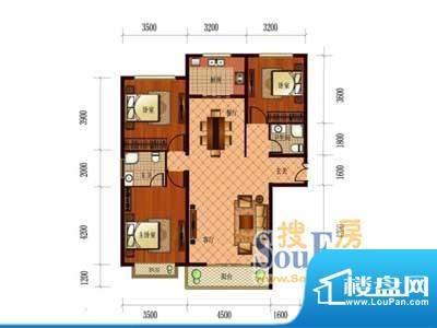 恒盛国际B1 3室2厅2面积:139.39m平米