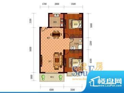 恒盛国际A2 2室2厅1面积:132.84m平米