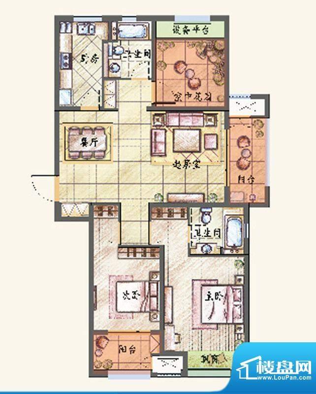 新城香溢紫郡户型图F户型 2室2面积:120.00平米