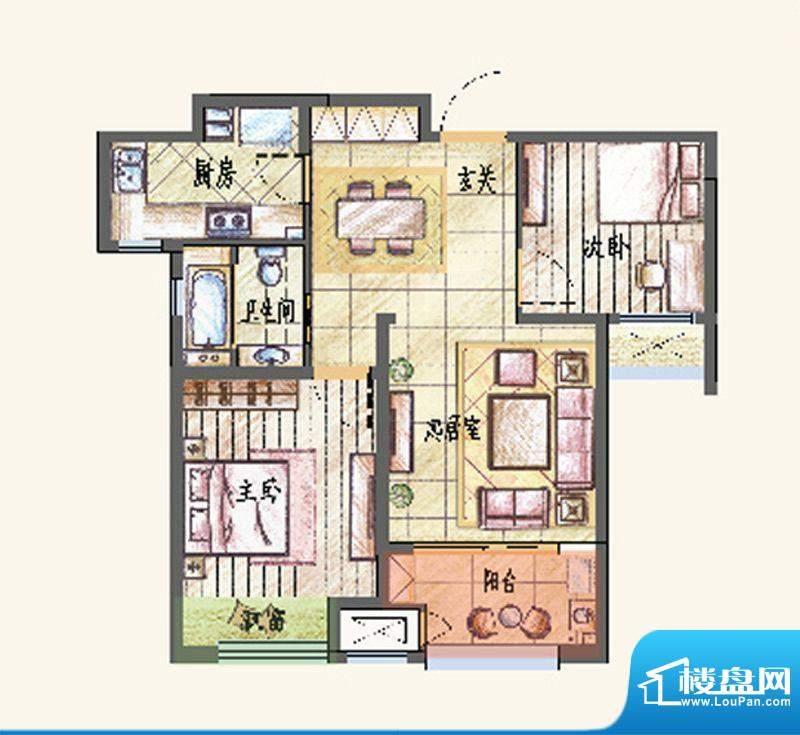 新城香溢紫郡户型图A户型 2室2面积:83.00平米