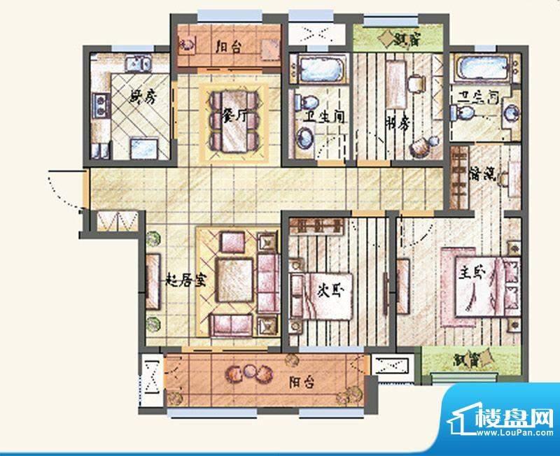 新城香溢紫郡户型图G户型 3室2面积:133.00平米