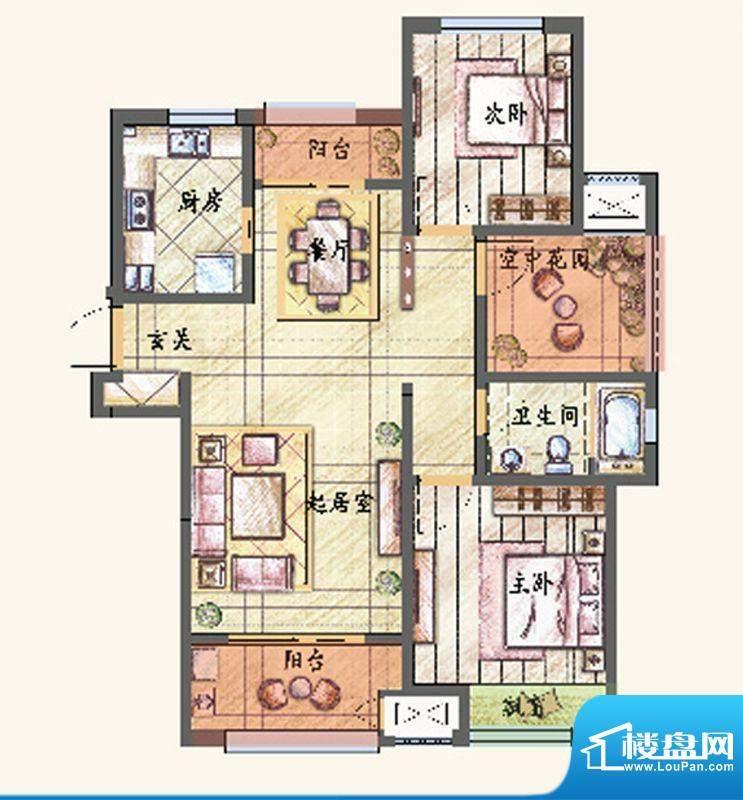 新城香溢紫郡户型图E户型 2室2面积:115.00平米