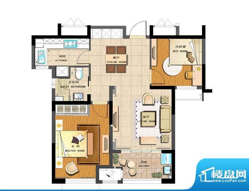 新城香溢紫郡户型图A-1户型 2室面积:83.00平米