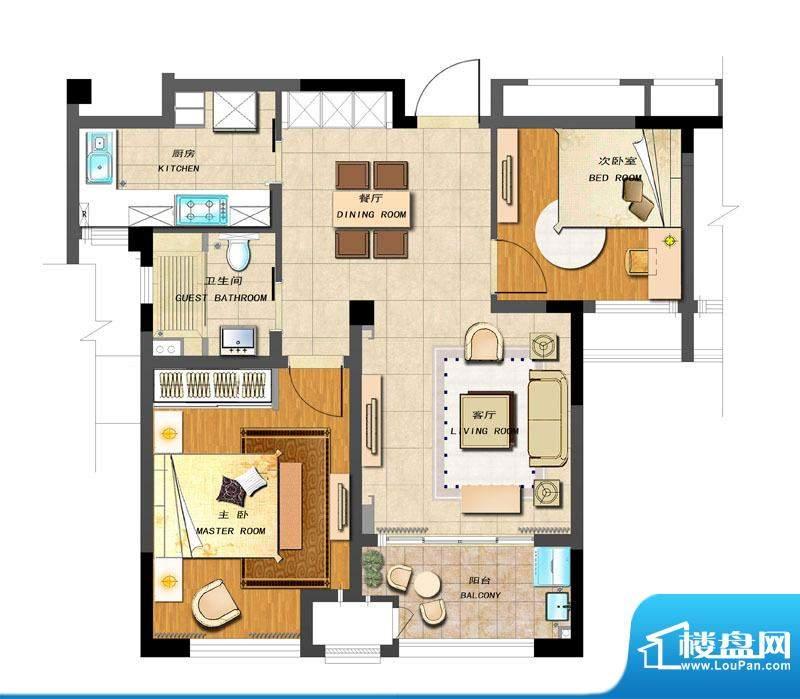 新城香溢紫郡户型图A-2户型 2室面积:83.00平米