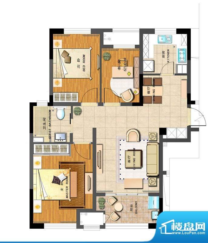 新城香溢紫郡户型图B户型 3室2面积:93.00平米