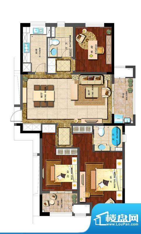 新城香溢紫郡户型图C户型 3室2面积:130.00平米