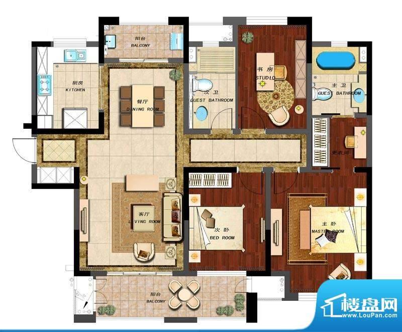 新城香溢紫郡户型图D户型 3室2面积:133.00平米