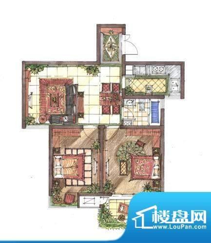 九洲新世界户型图A5户型 2室2厅面积:87.00平米