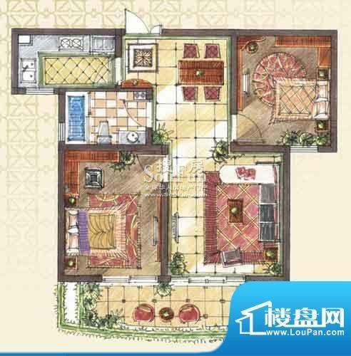 九洲新世界户型图A1-1户型 2室面积:88.00平米