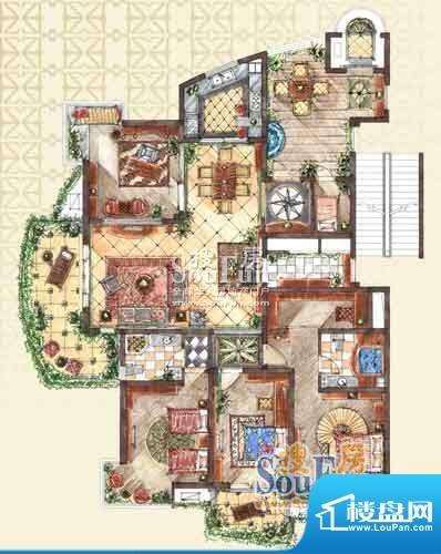 九洲新世界户型图D1户型 4室2厅面积:210.63平米