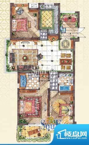 九洲新世界户型图C2-1户型 3室面积:133.00平米