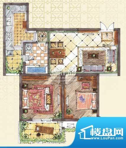 九洲新世界户型图A3-1户型 2室面积:89.00平米