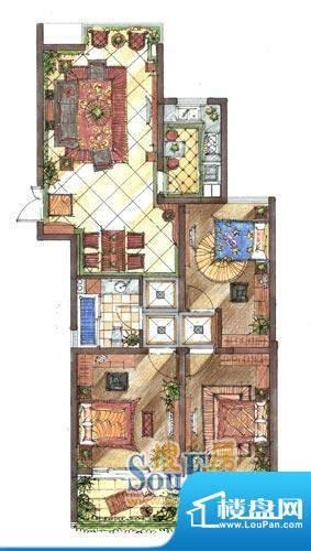 九洲新世界户型图B1户型 3室2厅面积:120.77平米