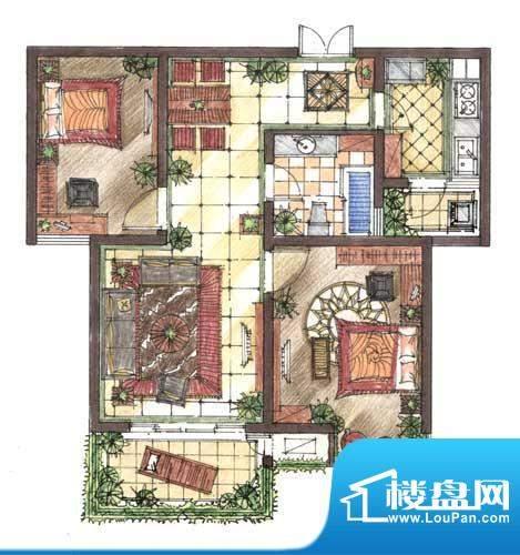 九洲新世界户型图A2户型 2室2厅面积:88.10平米