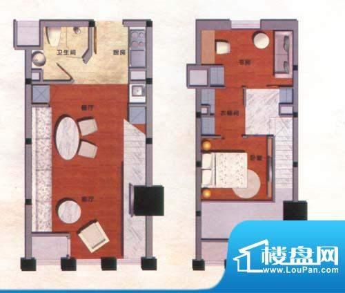 九洲新世界户型图电脑城公寓 3面积:76.00平米