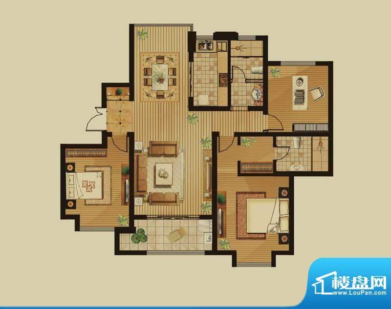 绿地白金汉宫户型图B2户型 3室面积:142.30平米