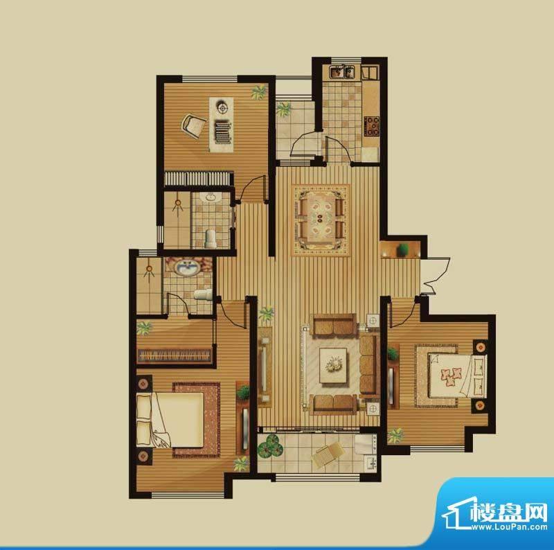绿地白金汉宫户型图B3户型 3室面积:141.20平米