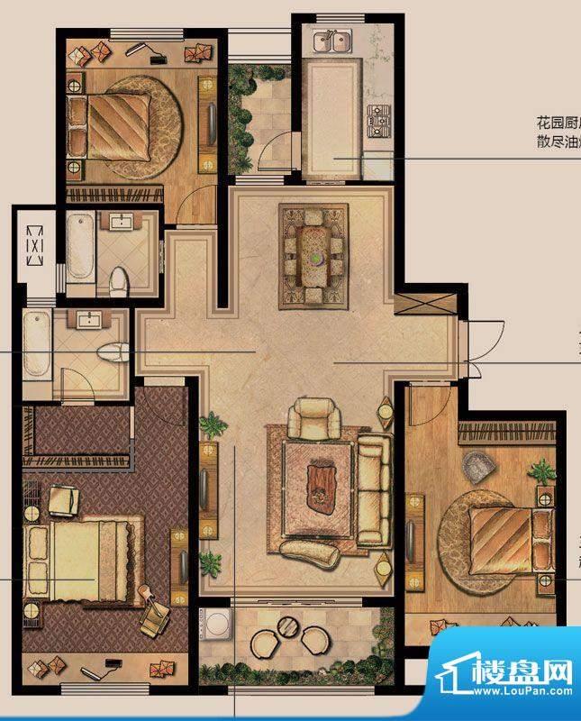 绿地白金汉宫户型图C4#户型 3室面积:138.00平米