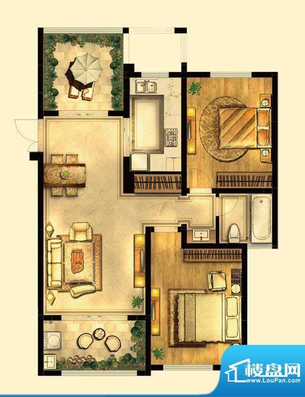 绿地白金汉宫户型图A2户型 3室面积:102.00平米
