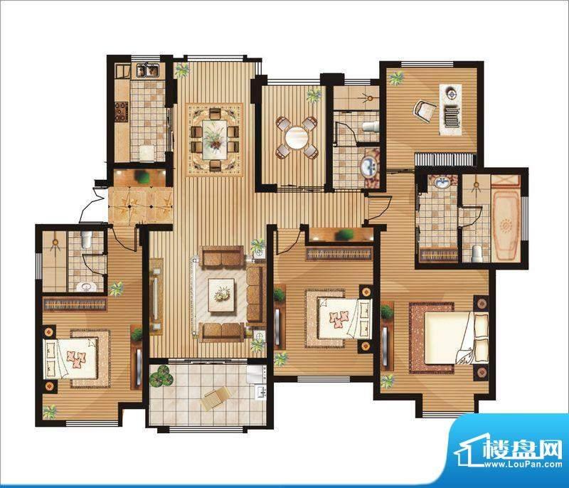绿地白金汉宫户型图C2户型 4室面积:181.00平米