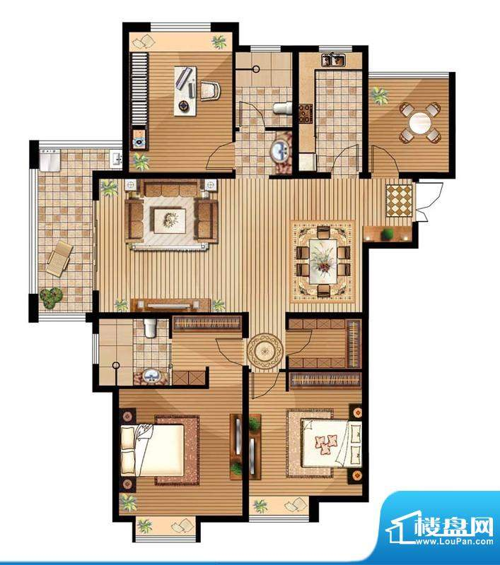 绿地白金汉宫户型图B4户型 3室面积:143.96平米
