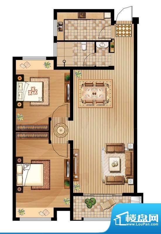 绿地白金汉宫户型图A1户型 2室面积:88.49平米